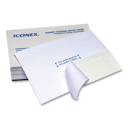POSTAGE METER LABELS, DOUBLE TAPE STRIPS, 4 X 5.5 - 1.75 X 5.5, WHITE, 2/SHEET, 150 SHEETS/PACK