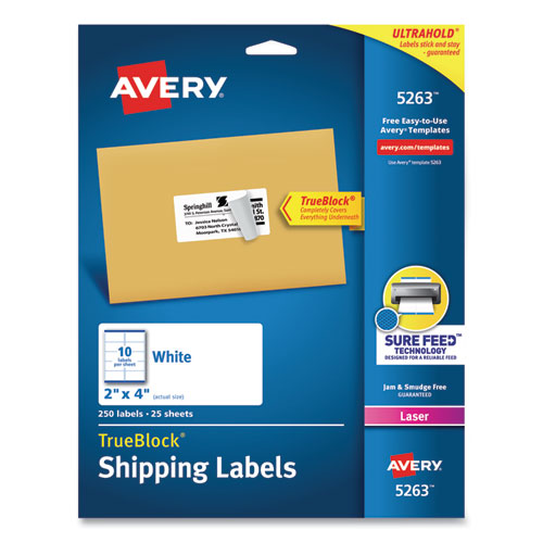 SHIPPING LABELS W/ TRUEBLOCK TECHNOLOGY, LASER PRINTERS, 2 X 4, WHITE, 10/SHEET, 25 SHEETS/PACK