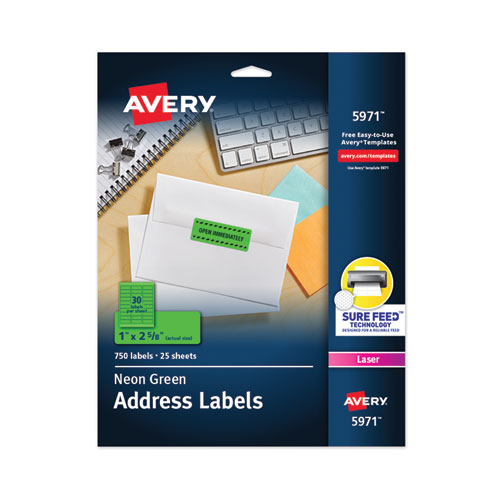 HIGH-VISIBILITY PERMANENT LASER ID LABELS, 1 X 2 5/8, NEON GREEN, 750/PACK