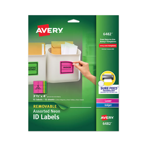 HIGH-VIS REMOVABLE LASER/INKJET ID LABELS W/ SURE FEED, 3 1/3 X 4, NEON, 72/PK