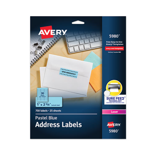 HIGH-VISIBILITY PERMANENT LASER ID LABELS, 1 X 2 5/8, PASTEL BLUE, 750/PACK