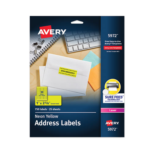 HIGH-VISIBILITY PERMANENT LASER ID LABELS, 1 X 2 5/8, NEON YELLOW, 750/PACK