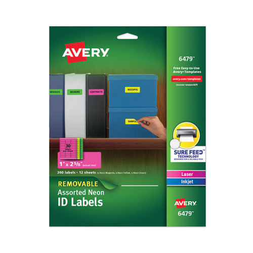 HIGH-VIS REMOVABLE LASER/INKJET ID LABELS W/ SURE FEED, 1 X 2 5/8, NEON, 360/PK