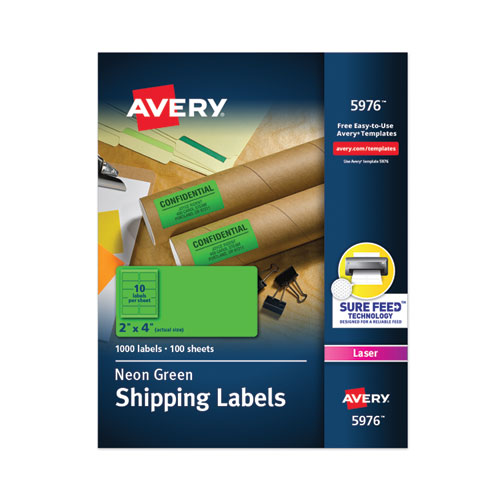 HIGH-VISIBILITY PERMANENT LASER ID LABELS, 2 X 4, NEON GREEN, 1000/BOX