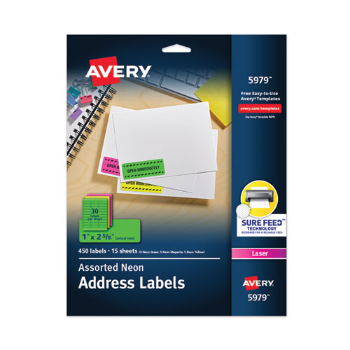 HIGH-VISIBILITY PERMANENT LASER ID LABELS, 1 X 2 5/8, ASST. NEON, 450/PACK