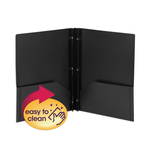 POLY TWO-POCKET FOLDER W/FASTENERS, 11 X 8.5, BLACK, 25/BOX