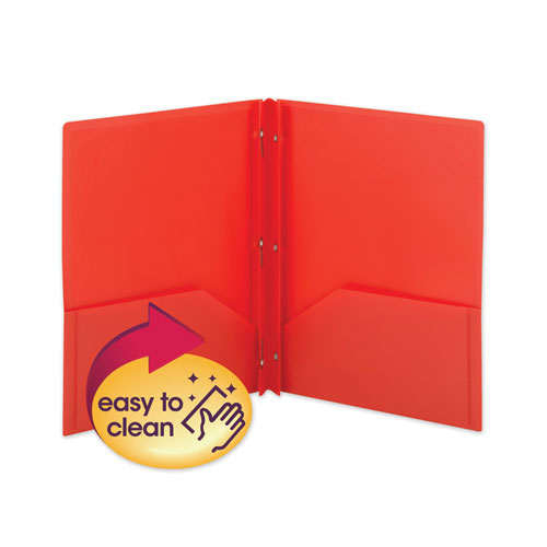Poly Two-Pocket Folder W/fasteners, 11 X 8 1/2, Red, 25/box