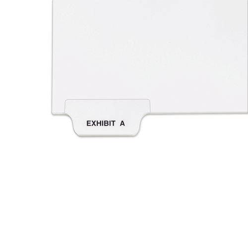 Avery-Style Preprinted Legal Bottom Tab Divider, Exhibit A, Letter, White, 25/pk