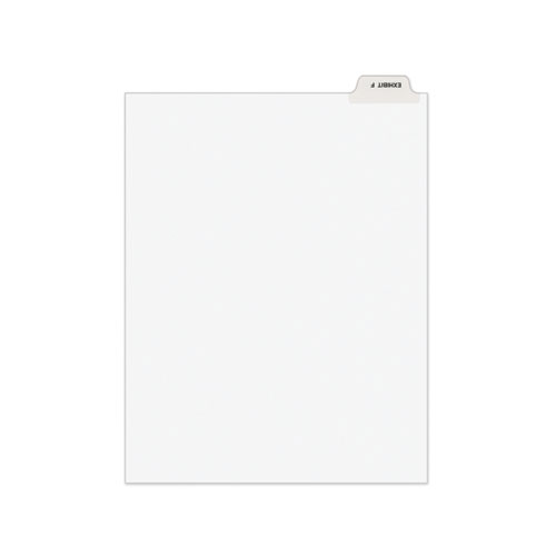 Avery-Style Preprinted Legal Bottom Tab Divider, Exhibit F, Letter, White, 25/pk