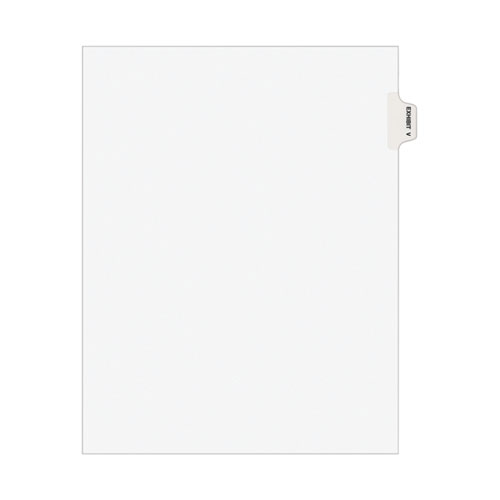 AVERY-STYLE PREPRINTED LEGAL SIDE TAB DIVIDER, EXHIBIT V, LETTER, WHITE, 25/PACK, (1392)