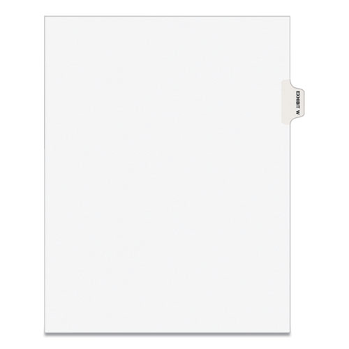 AVERY-STYLE PREPRINTED LEGAL SIDE TAB DIVIDER, EXHIBIT W, LETTER, WHITE, 25/PACK, (1393)
