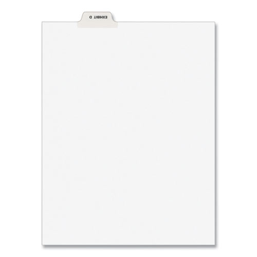 Avery-Style Preprinted Legal Bottom Tab Divider, Exhibit D, Letter, White, 25/pk