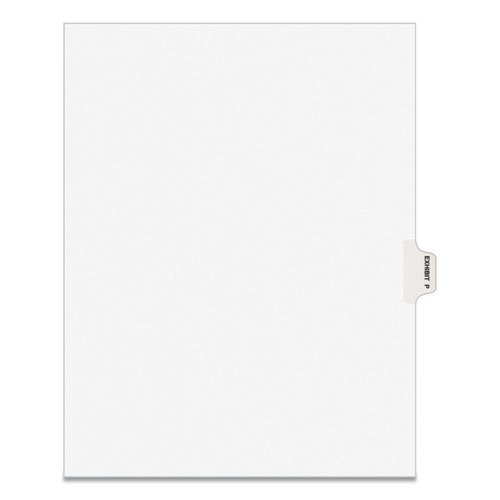 AVERY-STYLE PREPRINTED LEGAL SIDE TAB DIVIDER, EXHIBIT P, LETTER, WHITE, 25/PACK, (1386)