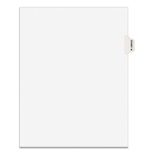 AVERY-STYLE PREPRINTED LEGAL SIDE TAB DIVIDER, EXHIBIT M, LETTER, WHITE, 25/PACK, (1383)