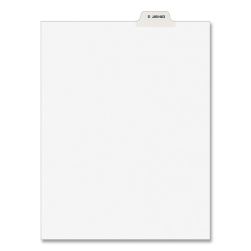 Avery-Style Preprinted Legal Bottom Tab Divider, Exhibit G, Letter, White, 25/pk