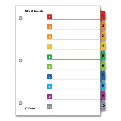 ONESTEP PRINTABLE TABLE OF CONTENTS AND DIVIDERS, 10-TAB, 1 TO 10, 11 X 8.5, WHITE, 1 SET