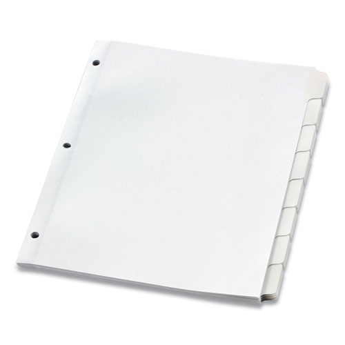 CUSTOM LABEL TAB DIVIDERS WITH SELF-ADHESIVE TAB LABELS, 8-TAB, 11 X 8.5, WHITE, 5 SETS