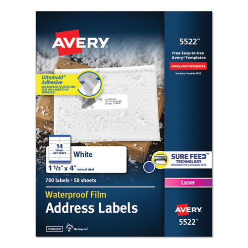 WATERPROOF ADDRESS LABELS WITH TRUEBLOCK AND SURE FEED, LASER PRINTERS, 1.33 X 4, WHITE, 14/SHEET, 50 SHEETS/PACK