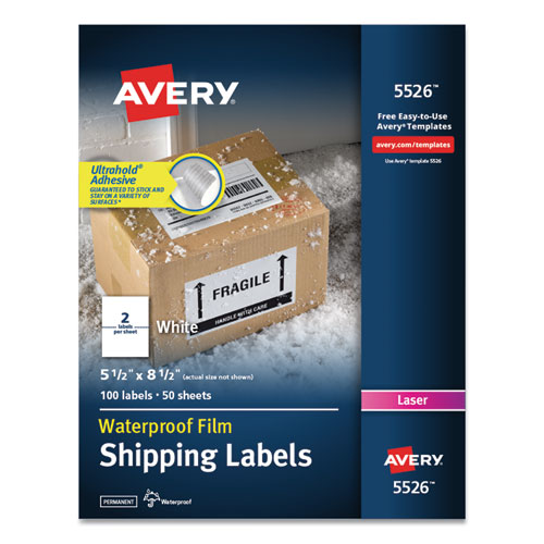 WATERPROOF SHIPPING LABELS WITH TRUEBLOCK TECHNOLOGY, LASER PRINTERS, 5.5 X 8.5, WHITE, 2/SHEET, 50 SHEETS/PACK