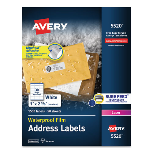 WATERPROOF ADDRESS LABELS WITH TRUEBLOCK AND SURE FEED, LASER PRINTERS, 1 X 2.63, WHITE, 30/SHEET, 50 SHEETS/PACK