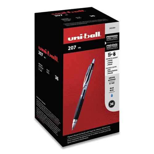 SIGNO 207 RETRACTABLE GEL PEN VALUE PACK, 0.7MM, BLUE INK, BLACK BARREL, 36/BOX