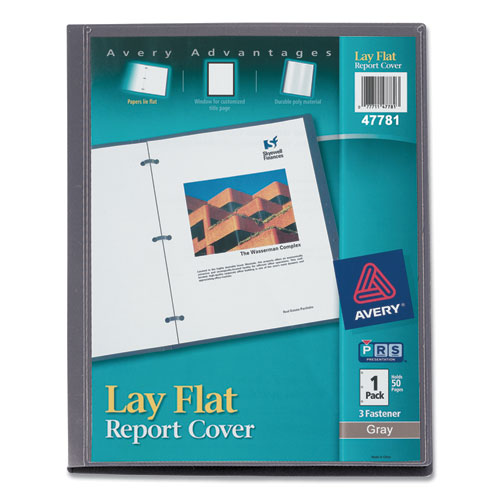 LAY FLAT VIEW REPORT COVER WITH FLEXIBLE FASTENER, LETTER, 1/2