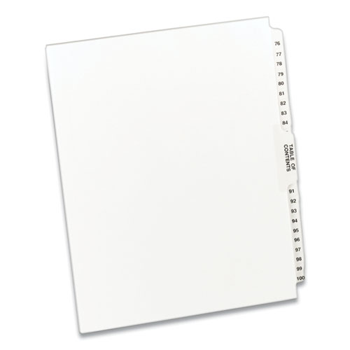 PREPRINTED LEGAL EXHIBIT SIDE TAB INDEX DIVIDERS, AVERY STYLE, 26-TAB, 76 TO 100, 11 X 8.5, WHITE, 1 SET