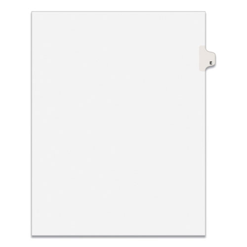 PREPRINTED LEGAL EXHIBIT SIDE TAB INDEX DIVIDERS, AVERY STYLE, 26-TAB, E, 11 X 8.5, WHITE, 25/PACK