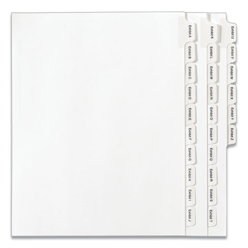 PREPRINTED LEGAL EXHIBIT SIDE TAB INDEX DIVIDERS, ALLSTATE STYLE, 26-TAB, EXHIBIT A TO EXHIBIT Z, 11 X 8.5, WHITE, 1 SET