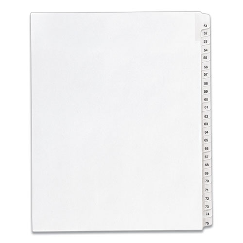 PREPRINTED LEGAL EXHIBIT SIDE TAB INDEX DIVIDERS, ALLSTATE STYLE, 25-TAB, 51 TO 75, 11 X 8.5, WHITE, 1 SET