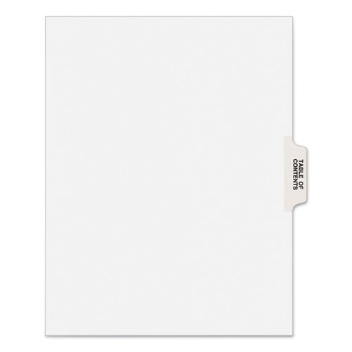 PREPRINTED LEGAL EXHIBIT SIDE TAB INDEX DIVIDERS, AVERY STYLE, 25-TAB, TABLE OF CONTENTS, 11 X 8.5, WHITE, 25/PACK