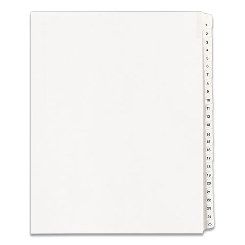 PREPRINTED LEGAL EXHIBIT SIDE TAB INDEX DIVIDERS, ALLSTATE STYLE, 25-TAB, 1 TO 25, 11 X 8.5, WHITE, 1 SET