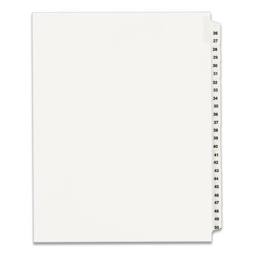 PREPRINTED LEGAL EXHIBIT SIDE TAB INDEX DIVIDERS, AVERY STYLE, 25-TAB, 26 TO 50, 11 X 8.5, WHITE, 1 SET, (1331)