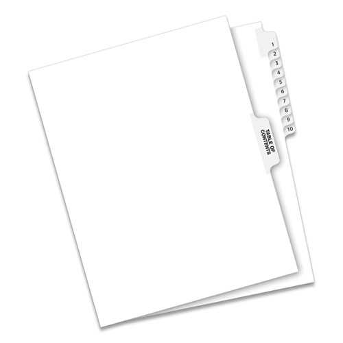 PREPRINTED LEGAL EXHIBIT SIDE TAB INDEX DIVIDERS, AVERY STYLE, 11-TAB, 1 TO 10, 11 X 8.5, WHITE, 1 SET