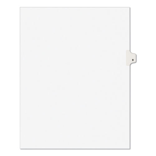 PREPRINTED LEGAL EXHIBIT SIDE TAB INDEX DIVIDERS, AVERY STYLE, 10-TAB, 9, 11 X 8.5, WHITE, 25/PACK