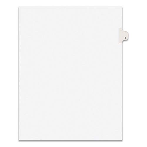 PREPRINTED LEGAL EXHIBIT SIDE TAB INDEX DIVIDERS, AVERY STYLE, 10-TAB, 5, 11 X 8.5, WHITE, 25/PACK