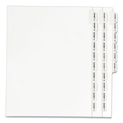 PREPRINTED LEGAL EXHIBIT SIDE TAB INDEX DIVIDERS, AVERY STYLE, 26-TAB, EXHIBIT A TO EXHIBIT Z, 11 X 8.5, WHITE, 1 SET