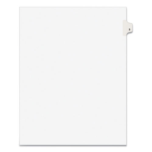 PREPRINTED LEGAL EXHIBIT SIDE TAB INDEX DIVIDERS, AVERY STYLE, 10-TAB, 3, 11 X 8.5, WHITE, 25/PACK