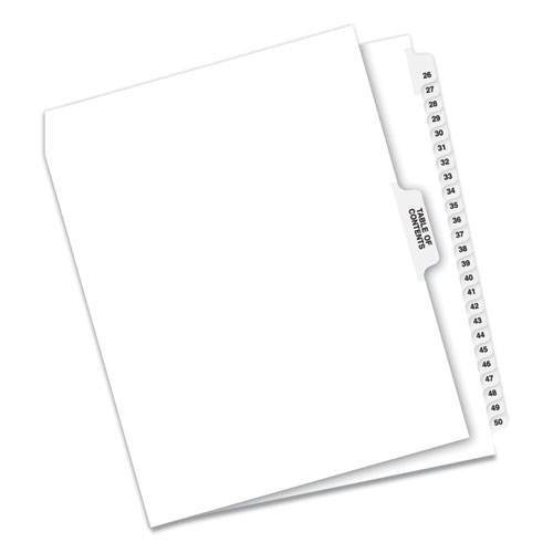 PREPRINTED LEGAL EXHIBIT SIDE TAB INDEX DIVIDERS, AVERY STYLE, 26-TAB, 26 TO 50, 11 X 8.5, WHITE, 1 SET