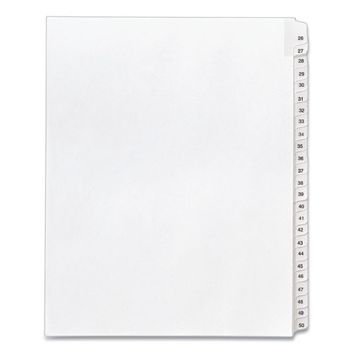 PREPRINTED LEGAL EXHIBIT SIDE TAB INDEX DIVIDERS, ALLSTATE STYLE, 25-TAB, 26 TO 50, 11 X 8.5, WHITE, 1 SET