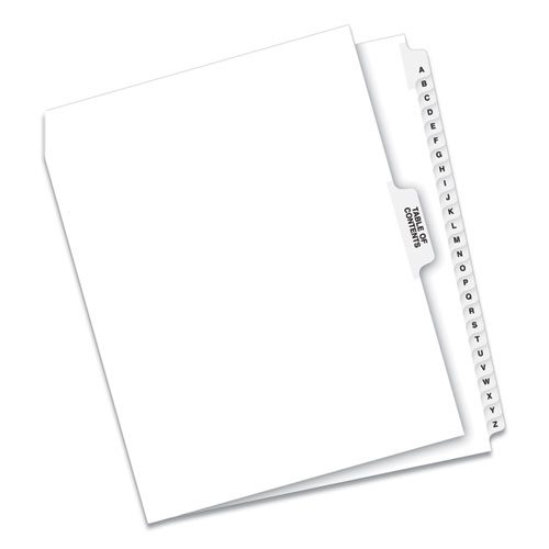 PREPRINTED LEGAL EXHIBIT SIDE TAB INDEX DIVIDERS, AVERY STYLE, 27-TAB, A TO Z, 11 X 8.5, WHITE, 1 SET