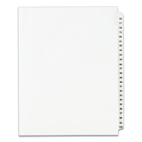 PREPRINTED LEGAL EXHIBIT SIDE TAB INDEX DIVIDERS, AVERY STYLE, 25-TAB, 76 TO 100, 11 X 8.5, WHITE, 1 SET