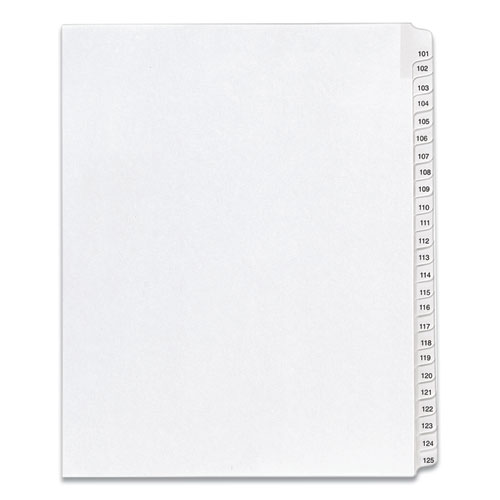 PREPRINTED LEGAL EXHIBIT SIDE TAB INDEX DIVIDERS, ALLSTATE STYLE, 25-TAB, 101 TO 125, 11 X 8.5, WHITE, 1 SET