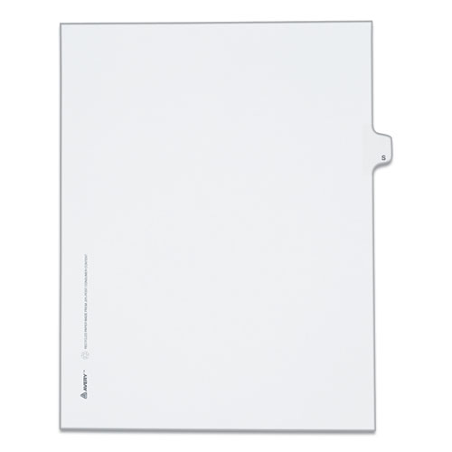 PREPRINTED LEGAL EXHIBIT SIDE TAB INDEX DIVIDERS, ALLSTATE STYLE, 26-TAB, S, 11 X 8.5, WHITE, 25/PACK