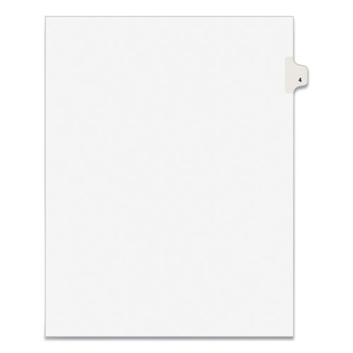 PREPRINTED LEGAL EXHIBIT SIDE TAB INDEX DIVIDERS, AVERY STYLE, 10-TAB, 4, 11 X 8.5, WHITE, 25/PACK