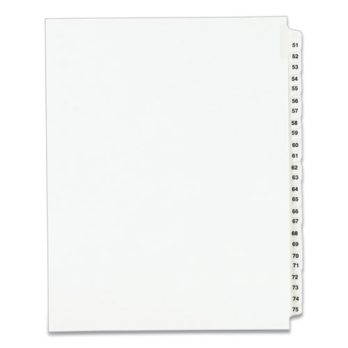PREPRINTED LEGAL EXHIBIT SIDE TAB INDEX DIVIDERS, AVERY STYLE, 25-TAB, 51 TO 75, 11 X 8.5, WHITE, 1 SET