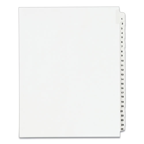 PREPRINTED LEGAL EXHIBIT SIDE TAB INDEX DIVIDERS, AVERY STYLE, 25-TAB, 1 TO 25, 11 X 8.5, WHITE, 1 SET, (1330)