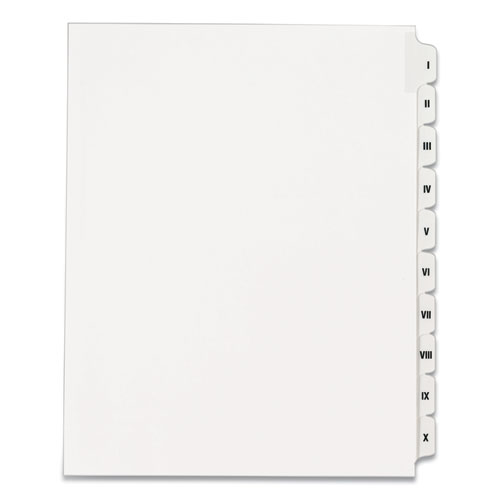 PREPRINTED LEGAL EXHIBIT SIDE TAB INDEX DIVIDERS, ALLSTATE STYLE, 10-TAB, I TO X, 11 X 8.5, WHITE, 1 SET