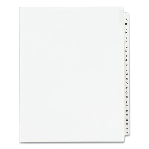 PREPRINTED LEGAL EXHIBIT SIDE TAB INDEX DIVIDERS, AVERY STYLE, 26-TAB, A TO Z, 11 X 8.5, WHITE, 1 SET