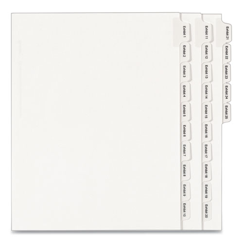 PREPRINTED LEGAL EXHIBIT SIDE TAB INDEX DIVIDERS, ALLSTATE STYLE, 25-TAB, EXHIBIT 1 TO EXHIBIT 25, 11 X 8.5, WHITE, 1 SET